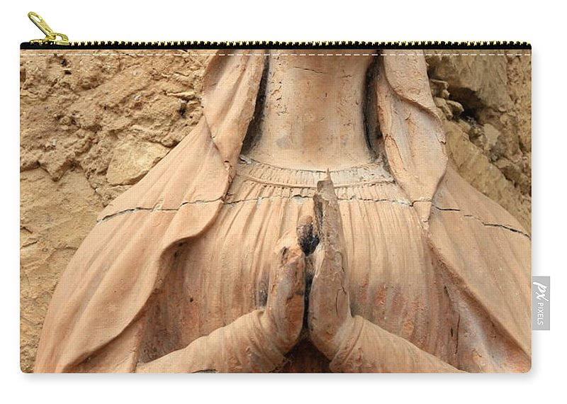 Mary Carry-all Pouch featuring the photograph Statue Of Mary Closeup by Carol Groenen