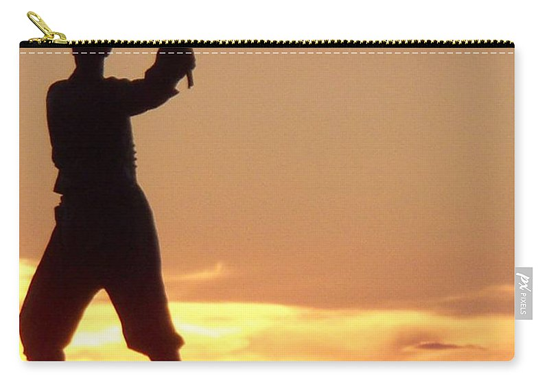 Statue Carry-all Pouch featuring the photograph Statue On Cemerty Ridge by Eric Schiabor