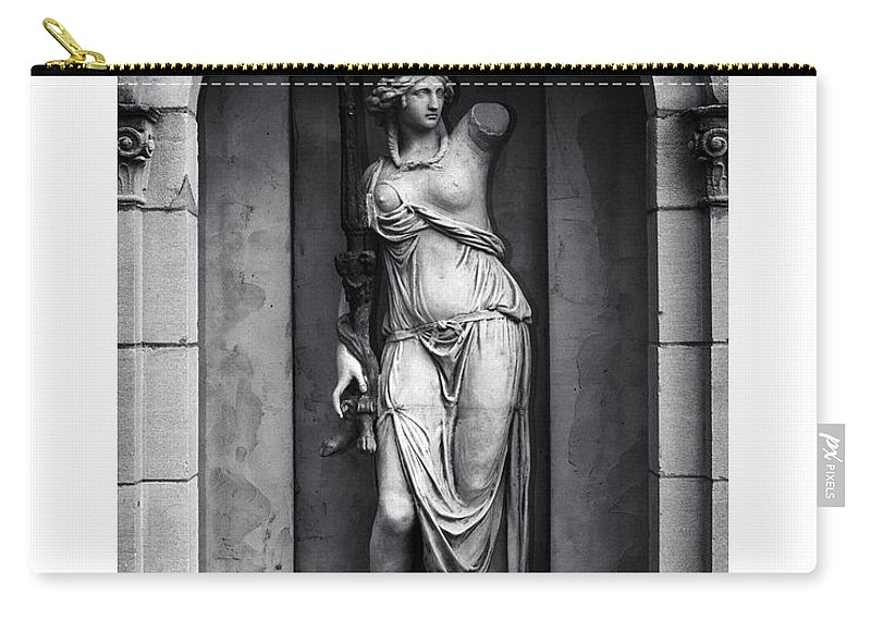 Black And White Carry-all Pouch featuring the photograph Statue Under Cover by Scott Wyatt