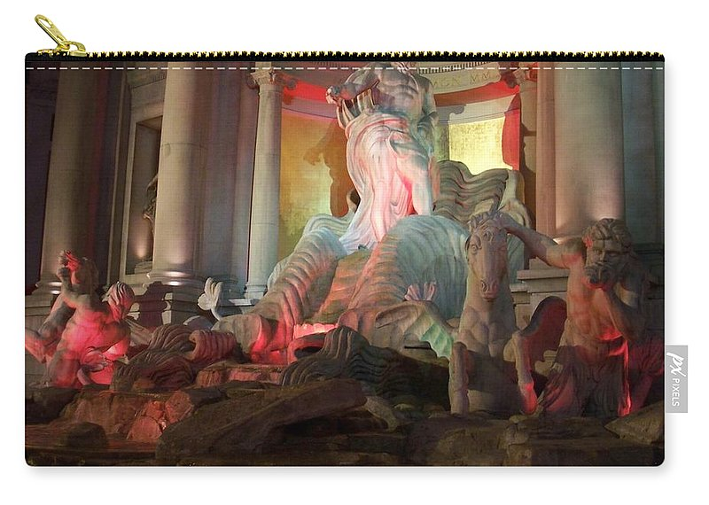 Ceasars Palace Carry-all Pouch featuring the photograph Statues At Ceasars Palace by Anita Burgermeister