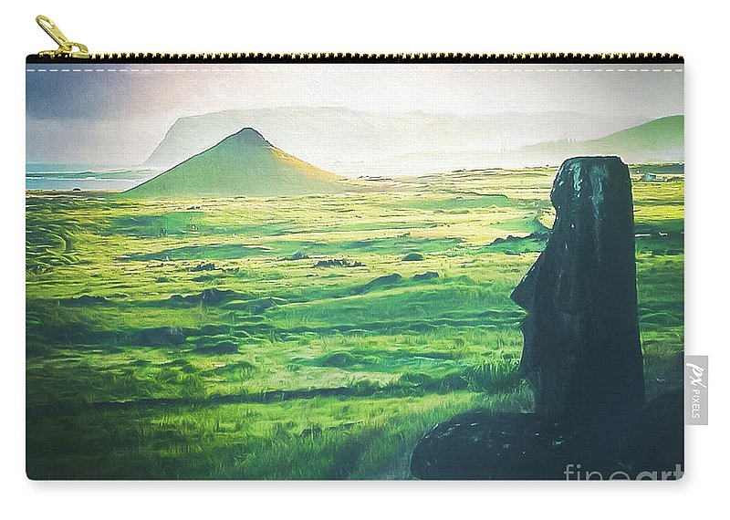 Easter Island Carry-all Pouch featuring the photograph Statues Of Easter Island by Michael Robert Powell