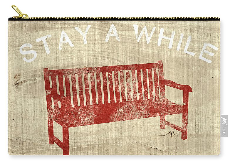 Country Carry-all Pouch featuring the mixed media Stay A While- Art By Linda Woods by Linda Woods