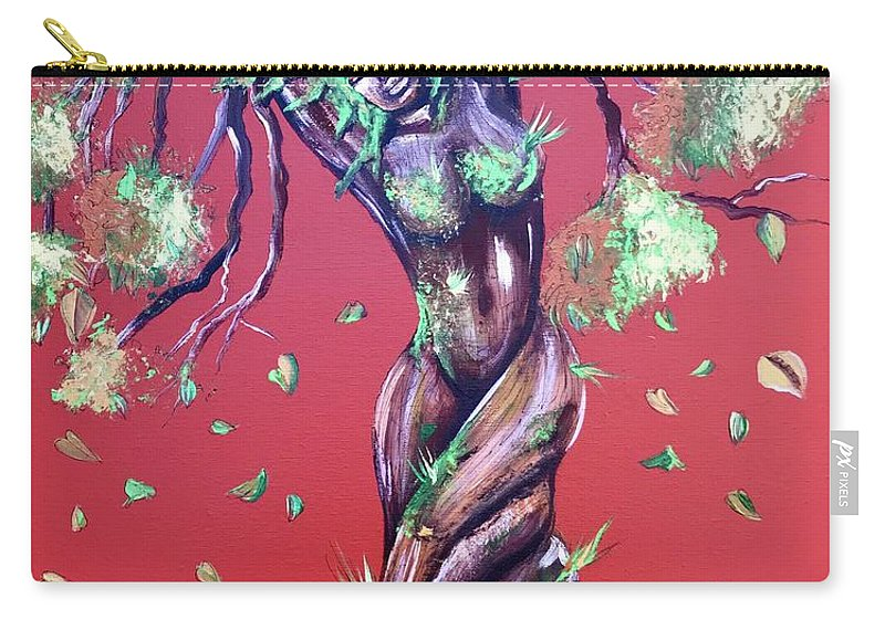 Tree Carry-all Pouch featuring the painting Stay Rooted- Stay Grounded by Artist RiA