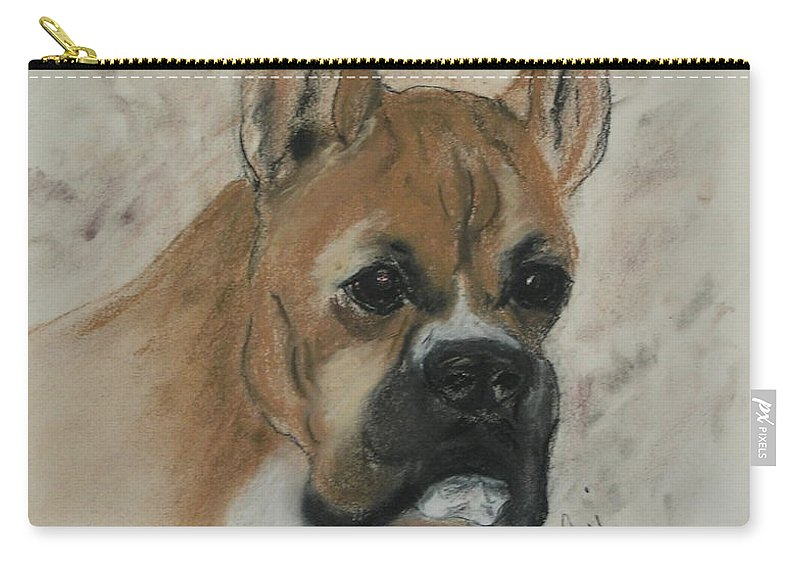 Dog Carry-all Pouch featuring the drawing Steady Goes It by Cori Solomon
