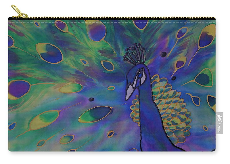 Peacock Carry-all Pouch featuring the painting Stealing The Show by Joanne Smoley