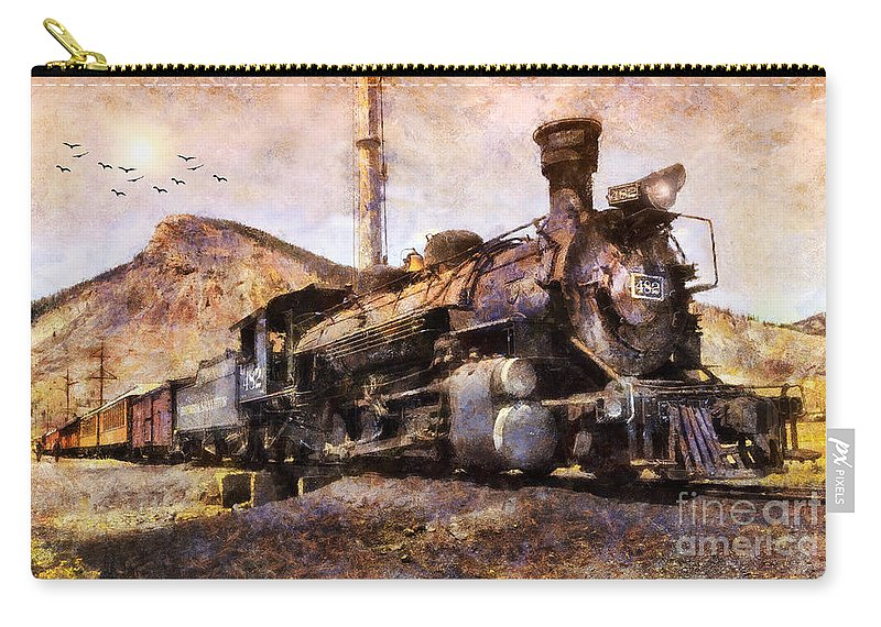San Juan Mountains Carry-all Pouch featuring the digital art Steam Locomotive by Ian Mitchell
