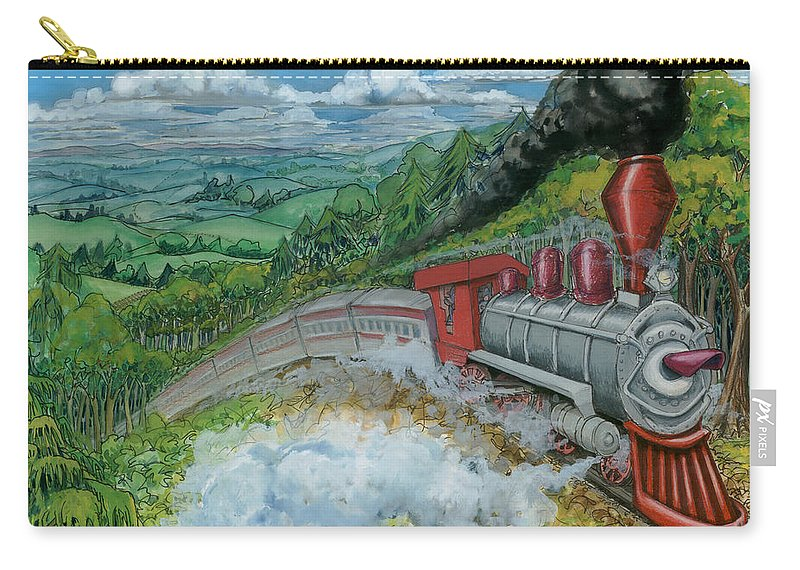 Train Carry-all Pouch featuring the painting Steam Train by Kevin Middleton