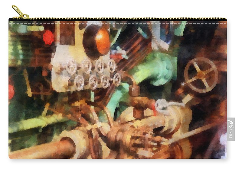 Steampunk Carry-all Pouch featuring the photograph Steampunk - Torpedo Controls by Susan Savad