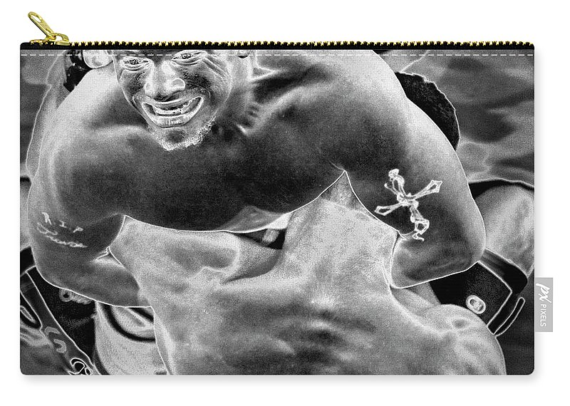 Black & White Carry-all Pouch featuring the photograph Steel Men Fighting 2 by Frederic A Reinecke