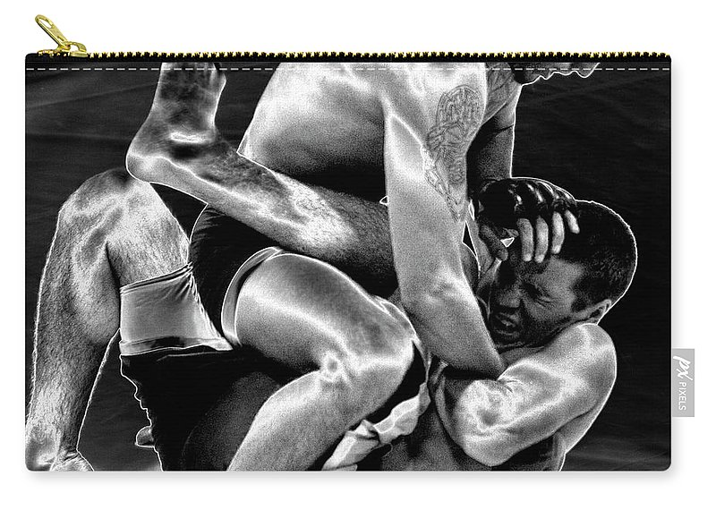 Black & White Carry-all Pouch featuring the photograph Steel Men Fighting 5 by Frederic A Reinecke
