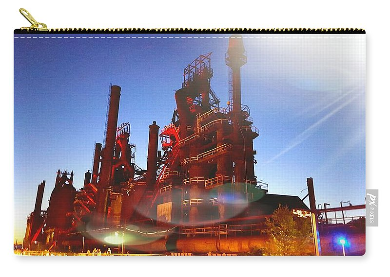 Carry-all Pouch featuring the photograph Steel Stacks by Jessica Murphy