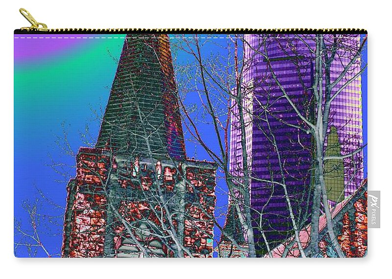 Seattle Carry-all Pouch featuring the digital art Steeple And Columbia by Tim Allen