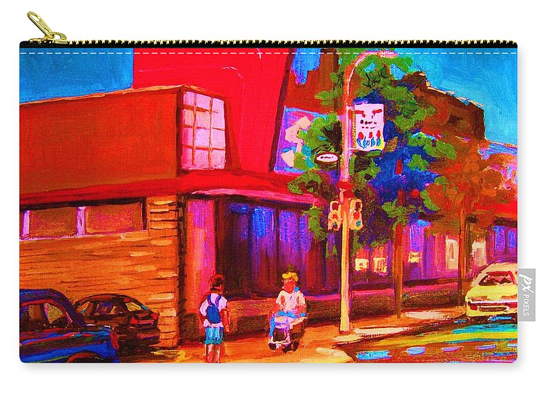 Steinbergs Carry-all Pouch featuring the painting Steinbergs Supermarket by Carole Spandau