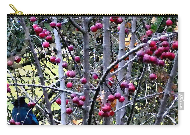 Stellar Jay Carry-all Pouch featuring the digital art Stellar Jay In Crab Apples by Will Borden