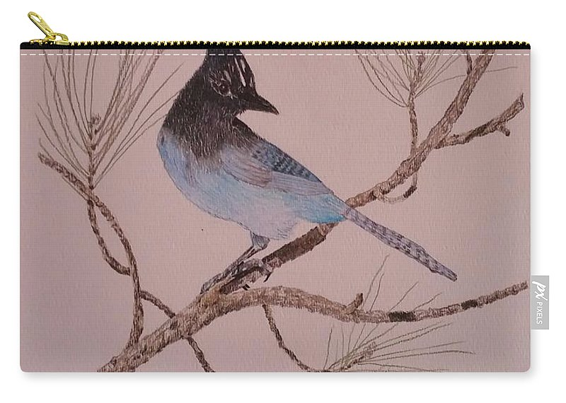 Animals Carry-all Pouch featuring the painting Stellar Jay On Ponderosa Branch by Sally Atchinson