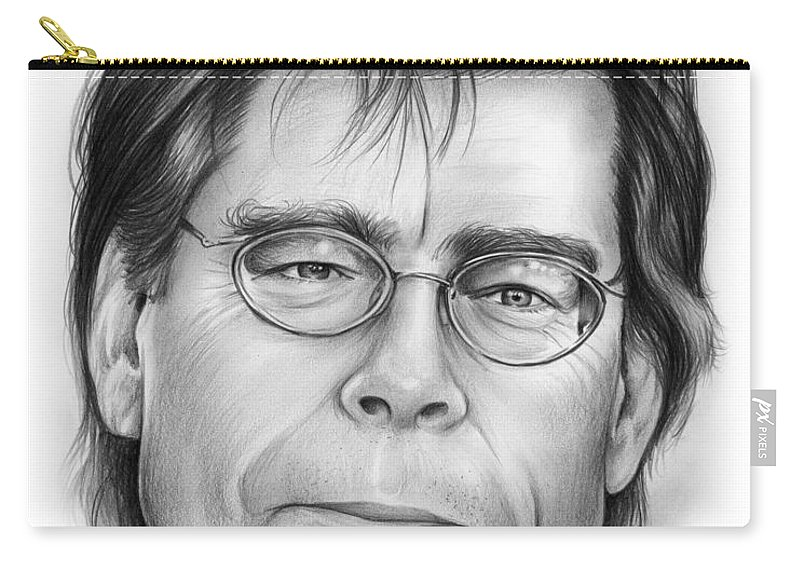 Celebrities Carry-all Pouch featuring the drawing Stephen King by Greg Joens