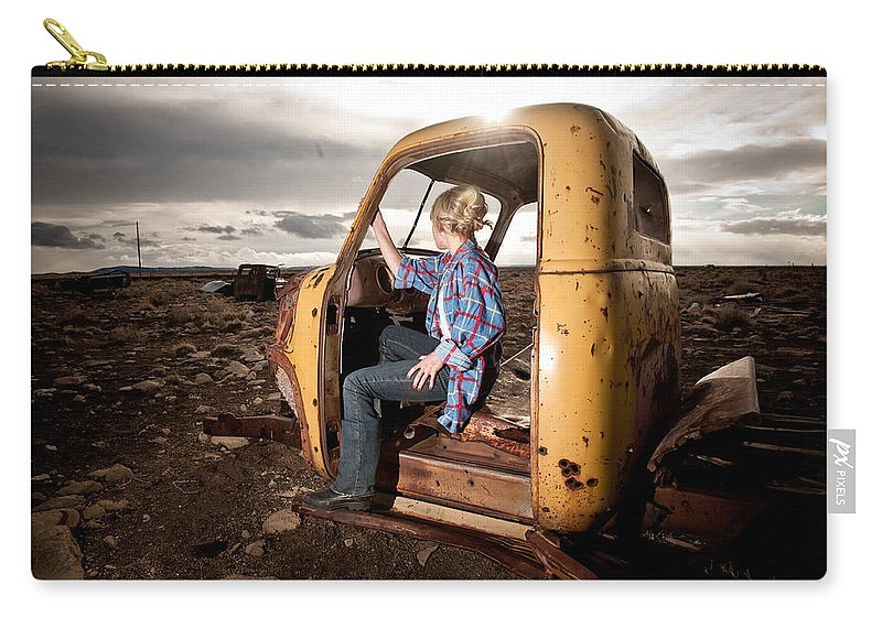 Old Truck Cab Carry-all Pouch featuring the photograph Stepping Away by Scott Sawyer
