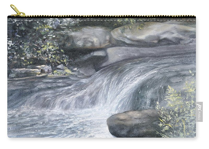 Oil Paintings Of Water Falls Carry-all Pouch featuring the painting Stepping Stones by Penny Neimiller