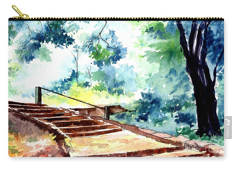 Landscape Carry-all Pouch featuring the painting Steps To Eternity by Anil Nene