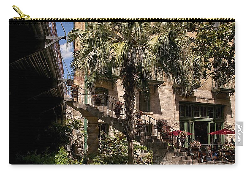 Architecture Carry-all Pouch featuring the photograph Steps To The Riverwalk by Steven Sparks