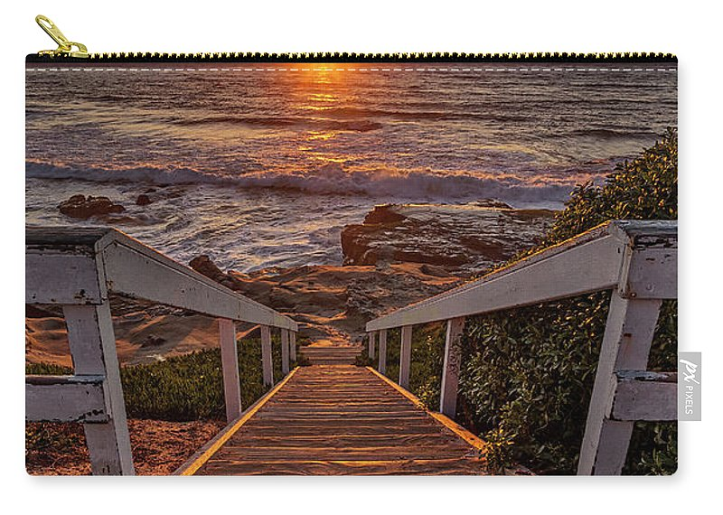 Beach. Beach Art Carry-all Pouch featuring the photograph Steps To The Sun by Peter Tellone