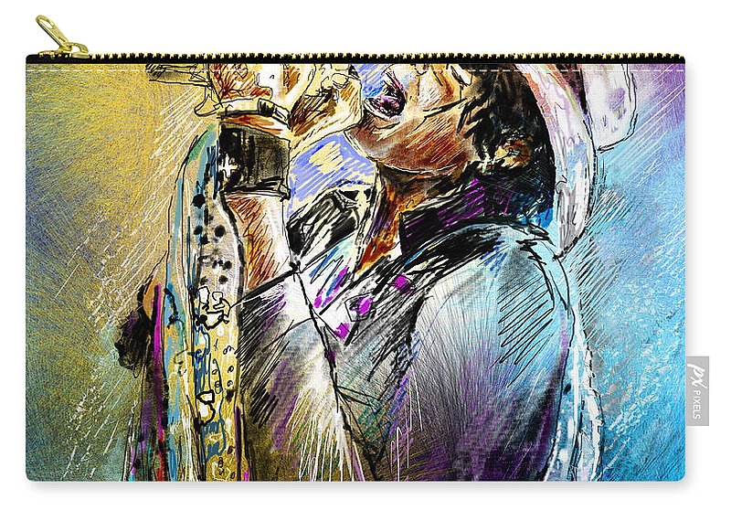 Portraits Carry-all Pouch featuring the painting Steven Tyler 01 Aerosmith by Miki De Goodaboom