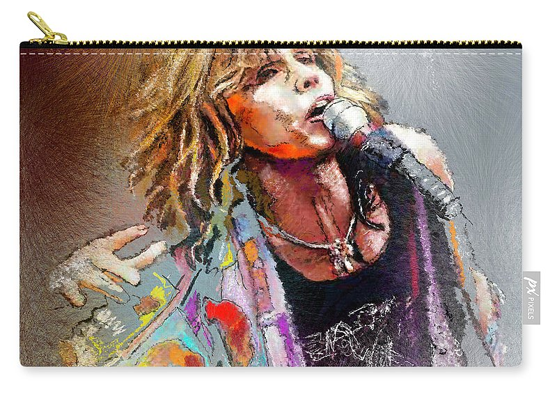 Musicians Carry-all Pouch featuring the painting Steven Tyler 02 Aerosmith by Miki De Goodaboom