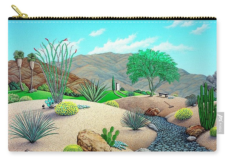 Desert Carry-all Pouch featuring the painting Steves Yard by Snake Jagger