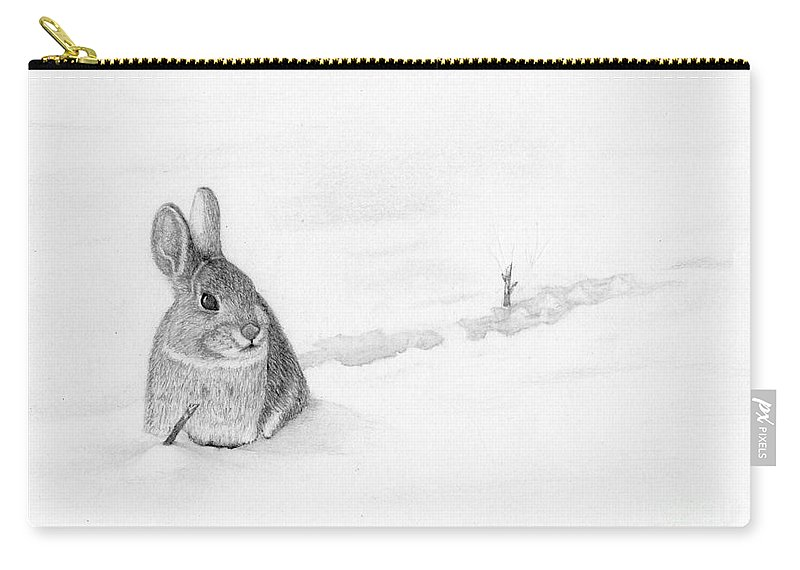 Rabbit Carry-all Pouch featuring the drawing Stick Hunting by George Sonner