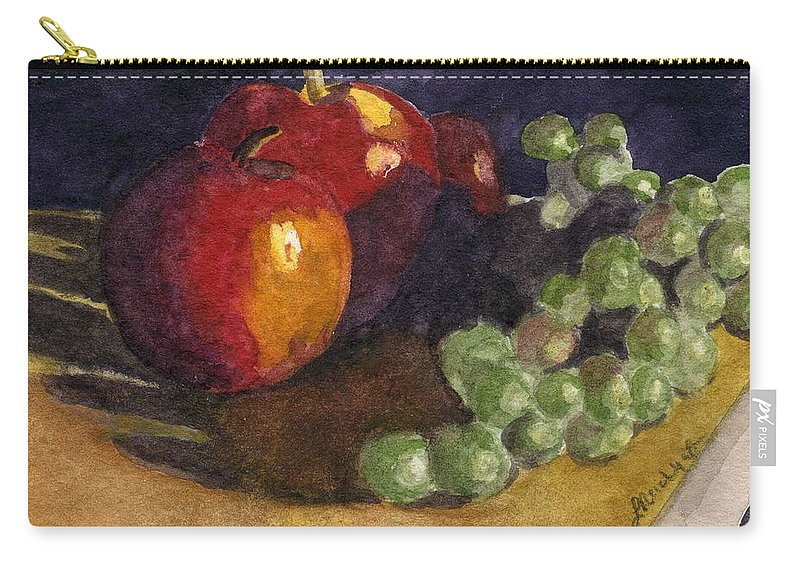 Watercolor Carry-all Pouch featuring the painting Still Apples by Lynne Reichhart