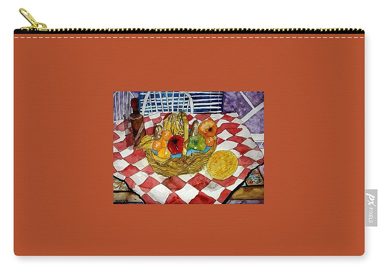 Still Life Watercolor Carry-all Pouch featuring the painting Still Life Art Fruit Basket 3 by Derek Mccrea
