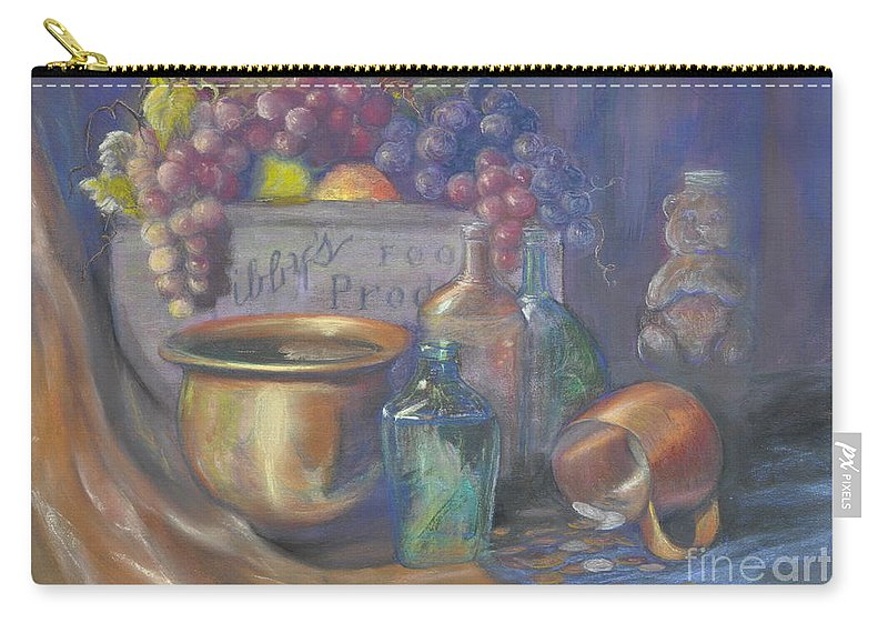 Still Life Paintings Carry-all Pouch featuring the painting Still Life Honey Bear by Penny Neimiller