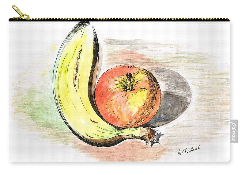Teresawhite Carry-all Pouch featuring the mixed media Still Life Of Apple And Banana by Teresa White