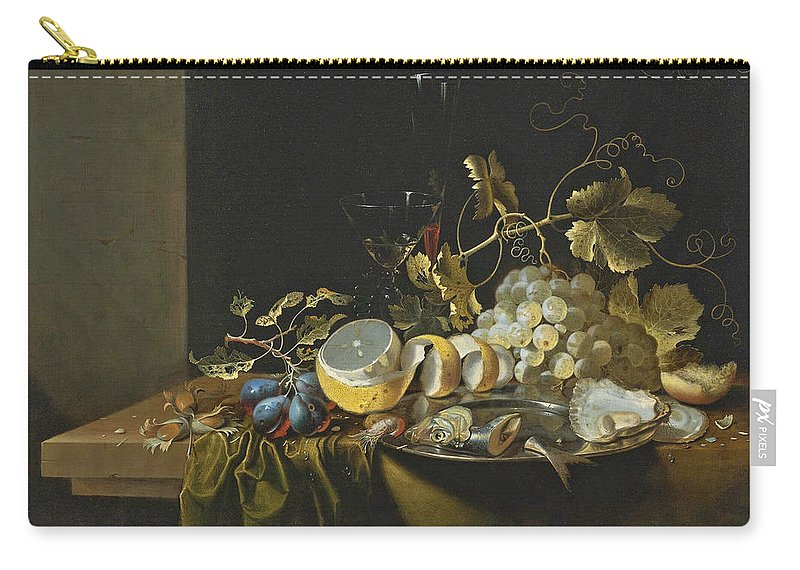 Laurens Craen Carry-all Pouch featuring the painting Still Life Of Hazelnuts Grapes Oysters And Other Foods On A Draped Table by Laurens Craen