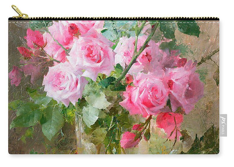 Still Carry-all Pouch featuring the painting Still life of roses in a glass vase by Frans Mortelmans