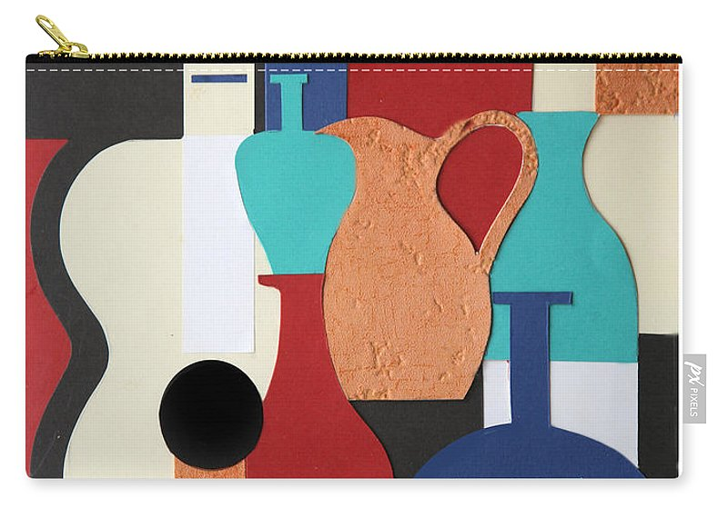 Still Life Carry-all Pouch featuring the mixed media Still Life Paper Collage Of Wine Glasses Bottles And Musical Instruments by Mal Bray