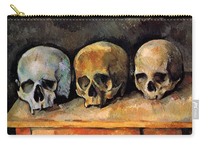 Europe Carry-all Pouch featuring the painting Still Life, Three Skulls by Paul Cezanne