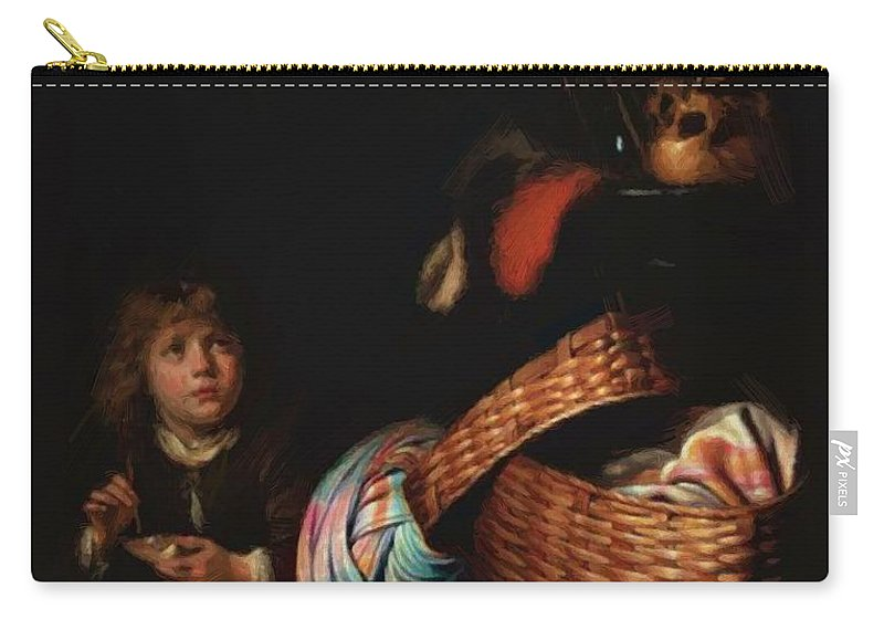 Still Carry-all Pouch featuring the painting Still Life With A Boy Blowing Soap Bubbles 1636 by Dou Gerrit