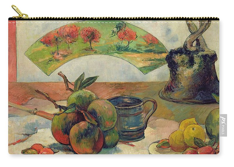 Still Life With A Fan Carry-all Pouch featuring the painting Still Life With A Fan by Paul Gauguin