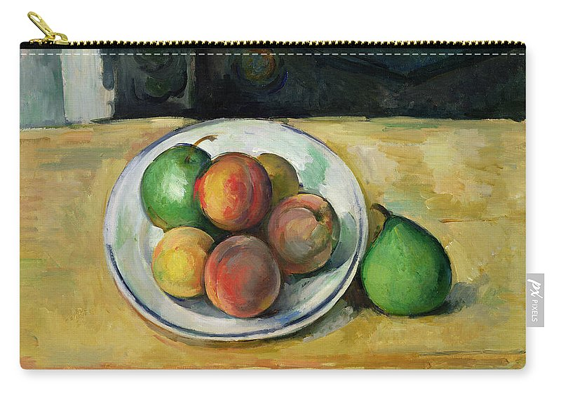 Still Carry-all Pouch featuring the painting Still Life with a Peach and Two Green Pears by Paul Cezanne