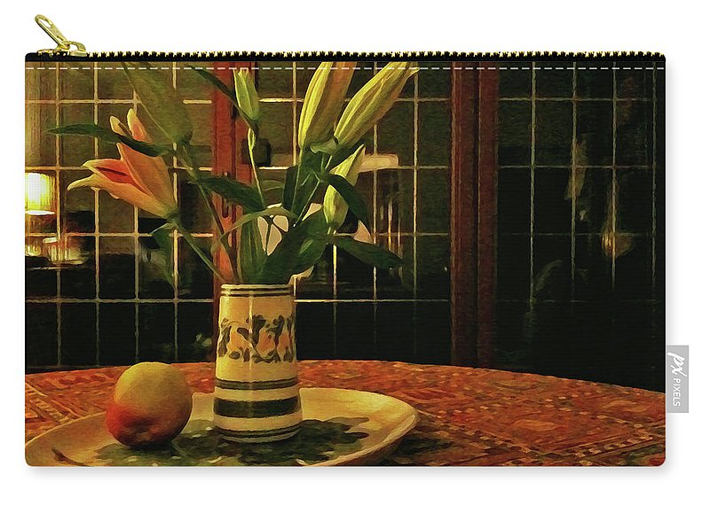 Still Life Lilies Apple Lamplight Painterly Vase Window Carry-all Pouch featuring the photograph Still Life With Apple by Anne Kotan