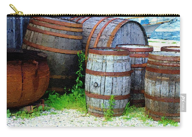 Antique Carry-all Pouch featuring the painting Still Life With Barrels by RC DeWinter