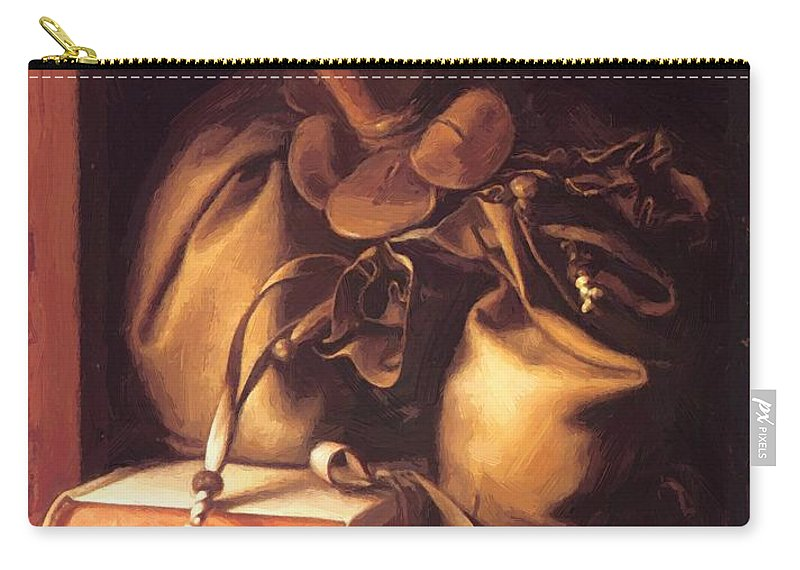 Still Carry-all Pouch featuring the painting Still Life With Book And Purse by Dou Gerrit