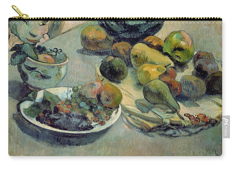 Still Life With Fruit Carry-all Pouch featuring the painting Still Life With Fruit by Paul Gauguin