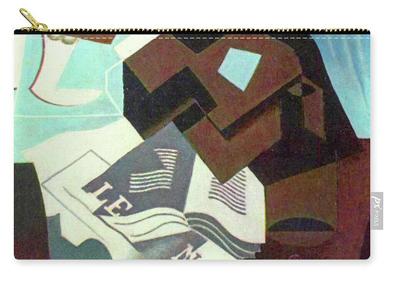 Still Carry-all Pouch featuring the painting Still Life With Guitar, Book And Newspaper  by Juan Gris