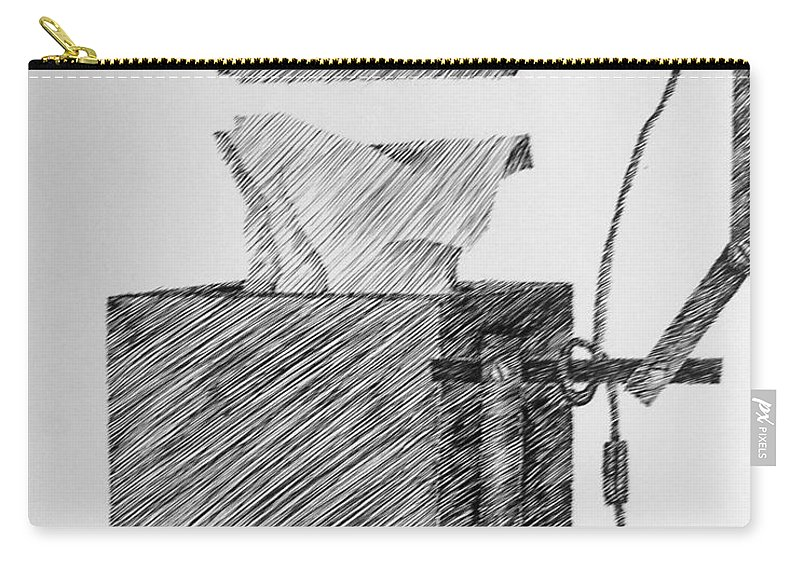 Still Life Carry-all Pouch featuring the drawing Still Life With Lamp And Tissues by Michelle Calkins