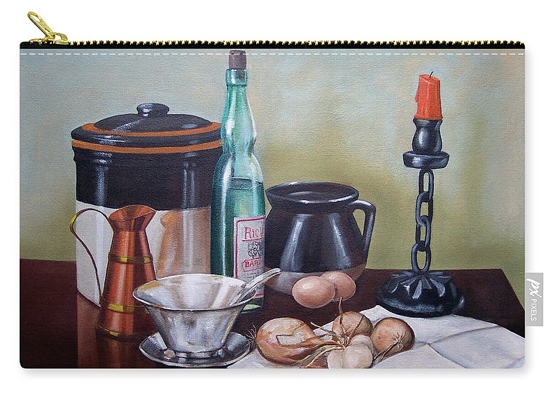 Still Life Carry-all Pouch featuring the painting Still Life With Onions And Eggs by Frank Wilson