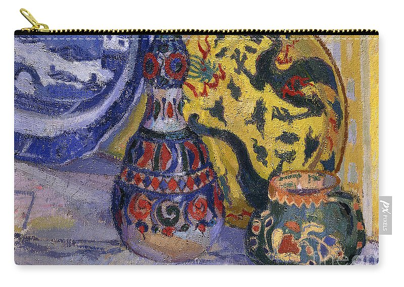 Still-life Carry-all Pouch featuring the painting Still Life With Oriental Figures, 1913 by Spencer Frederick Gore
