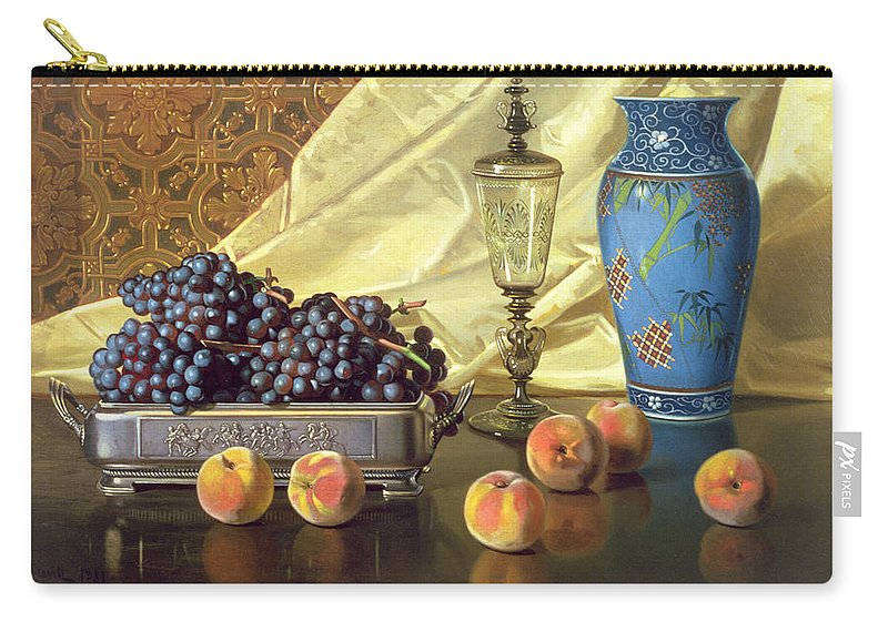 Still Life With Peaches Carry-all Pouch featuring the painting Still Life With Peaches by Edward Chalmers Leavitt