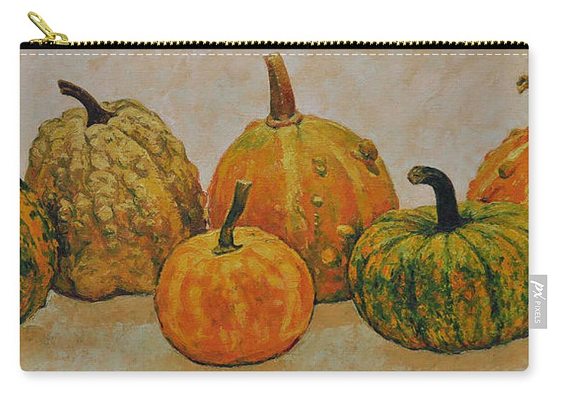 Still Life Carry-all Pouch featuring the painting Still Life With Pumpkins by Iliyan Bozhanov